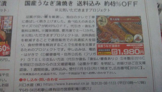 川口水産 国産うなぎ蒲焼き 送料込み約49%OFF1980円は安いのか?新聞広告限定